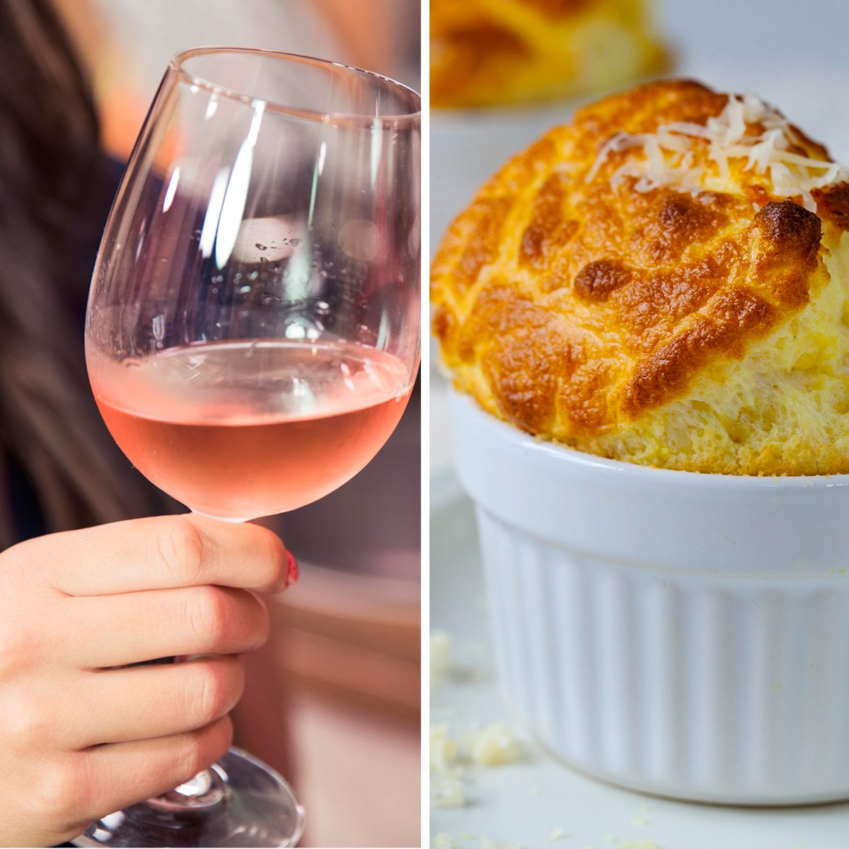 Close up of women toasting with rose wine while celebrating success. ; Shutterstock ID 1126991567; Job (TFH, TOH, RD, BNB, CWM, CM): TOH Cheese souffle; Shutterstock ID 232874194; Job (TFH, TOH, RD, BNB, CWM, CM): TOH