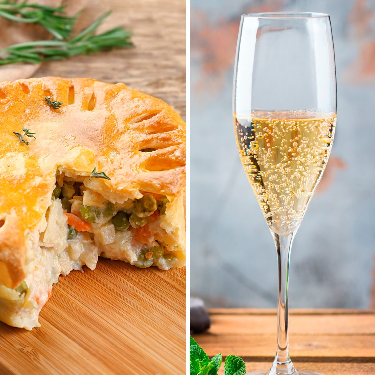 Food and drink, holidays party concept. Cold fresh alcohol beverage champagne sparkling white wine with bubbles in a flute glass on a wooden table. Copy space background; Shutterstock ID 1086809027; Job (TFH, TOH, RD, BNB, CWM, CM): TOH Tasty baked chicken pot pie on wooden board; Shutterstock ID 626255177; Job (TFH, TOH, RD, BNB, CWM, CM): TOH
