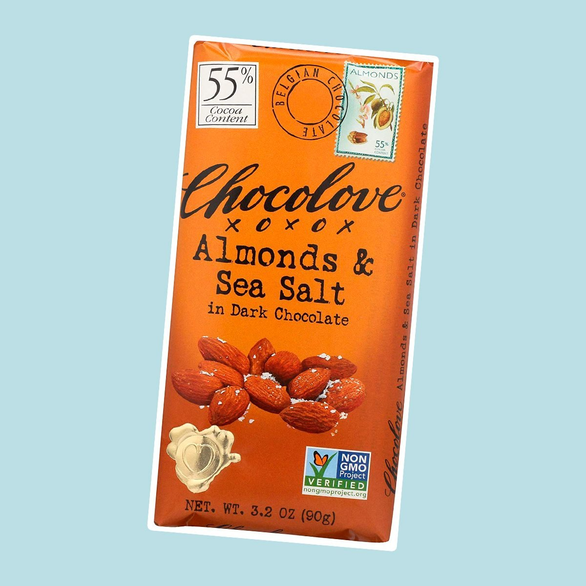 Chocolove, Almonds and Sea Salt in Dark Chocolate, 3.2 oz