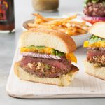 Stuffed Chorizo Burgers with Tomatillo Salsa