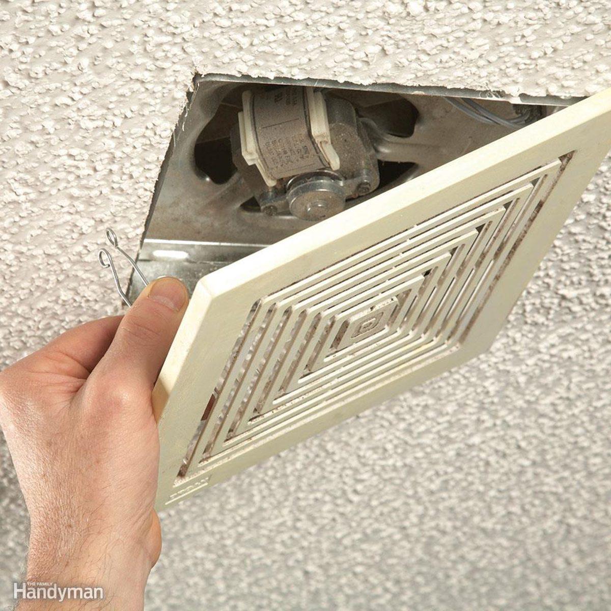 Opening the bathroom fan grill