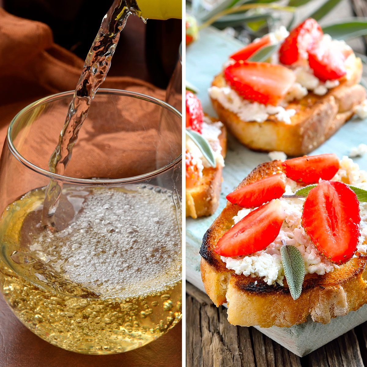 Crostini with goat cheese and strawberries; Shutterstock ID 224241787; Job (TFH, TOH, RD, BNB, CWM, CM): TOH Pouring white wine into a glass, high speed photography, focus on pour; Shutterstock ID 367944608; Job (TFH, TOH, RD, BNB, CWM, CM): TOH