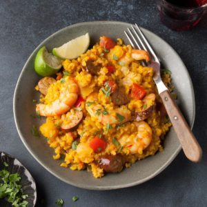 Grilled Chorizo and Shrimp Paella