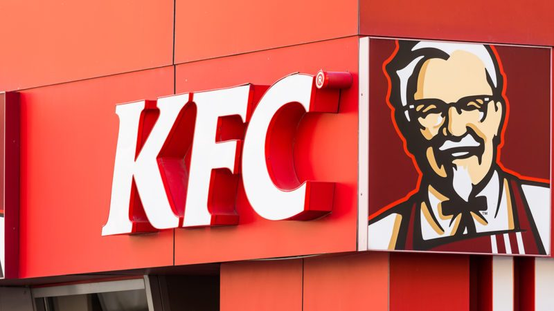 Kentucky Fried Chicken Restaurant Sign on March 23, 2014 in Bucharest, Romania. It is a fast food restaurant chain headquartered in United States specialized in chicken