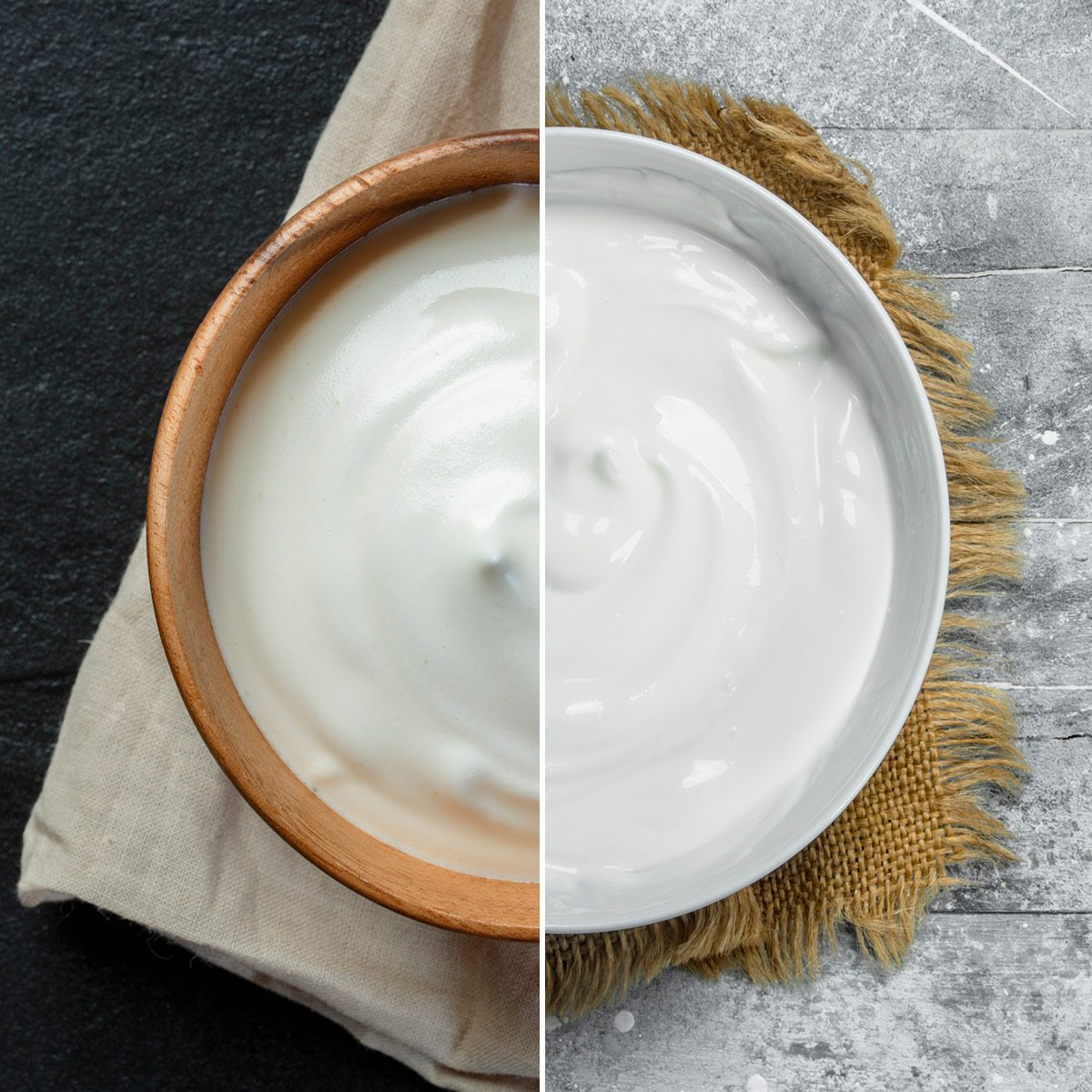 Natural yogurt; Shutterstock ID 568077193; Job (TFH, TOH, RD, BNB, CWM, CM): TOH Sour cream in bowl . On a rustic background.; Shutterstock ID 1336183736; Job (TFH, TOH, RD, BNB, CWM, CM): TOH