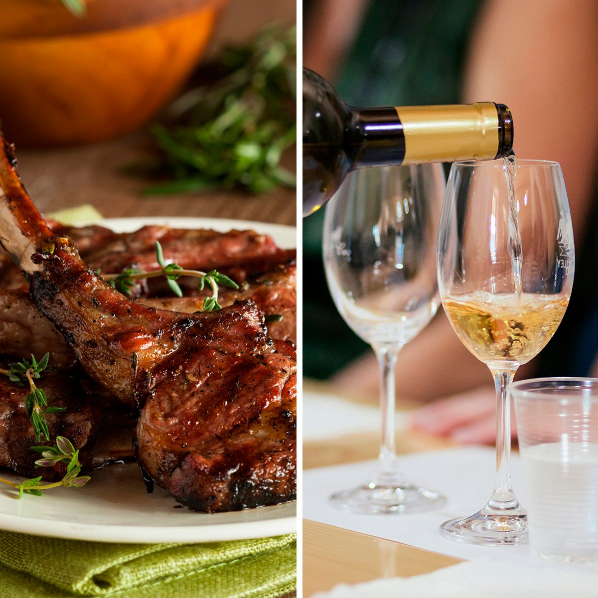 Organic Grilled Lamb Chops with Garlic and Lime; Shutterstock ID 259774196; Job (TFH, TOH, RD, BNB, CWM, CM): TOH Hand is pouring a bottle of light dry wine into glasses for tasting during the celebration. The concept of exclusive wines from wineries; Shutterstock ID 1363903487; Job (TFH, TOH, RD, BNB, CWM, CM): TOH