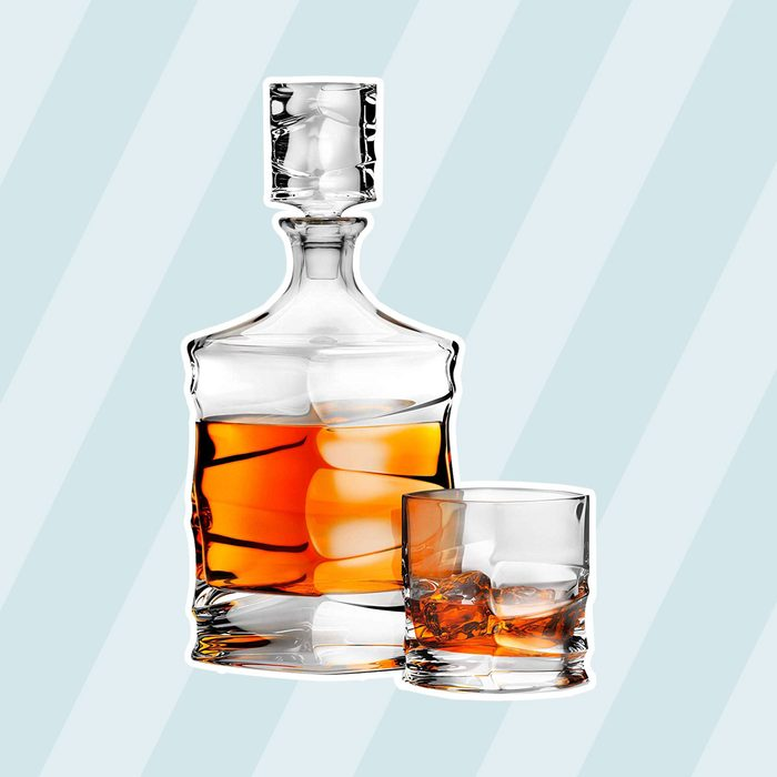 5 Piece Lead-Free the Lord Dudley Whiskey Decanter Set in Leather Gift Box with 4 Glasses