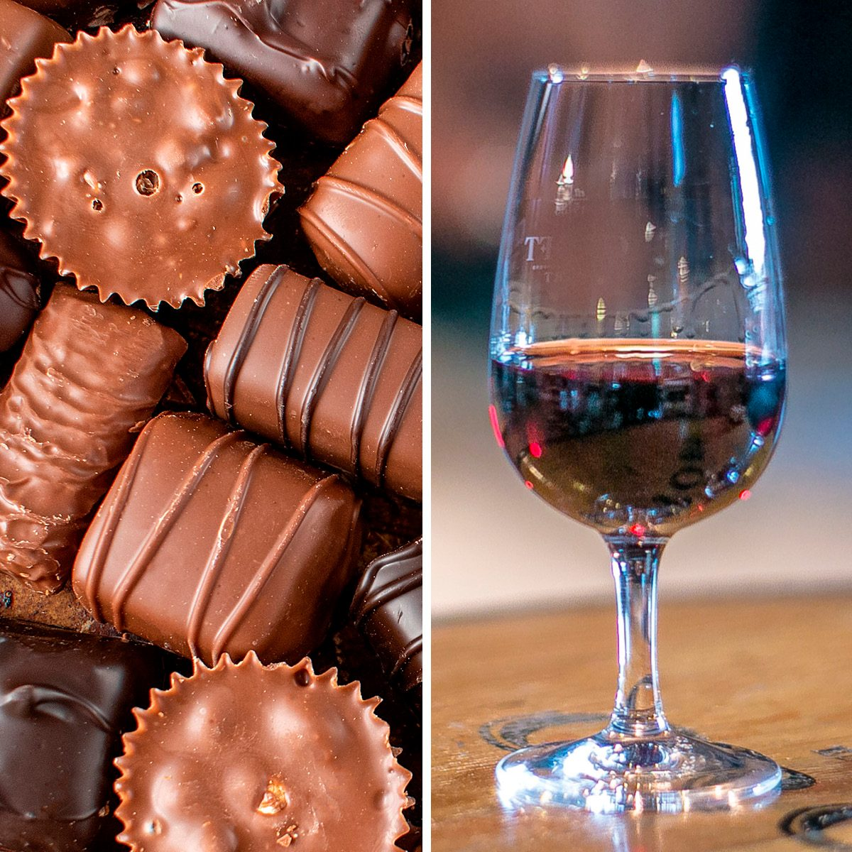 assorted fancy chocolate candy pieces flat lay; Shutterstock ID 1264229098; Job (TFH, TOH, RD, BNB, CWM, CM): TOH Two Port Wine glasses against a Port Winery background in Portugal; Shutterstock ID 759880831; Job (TFH, TOH, RD, BNB, CWM, CM): TOH