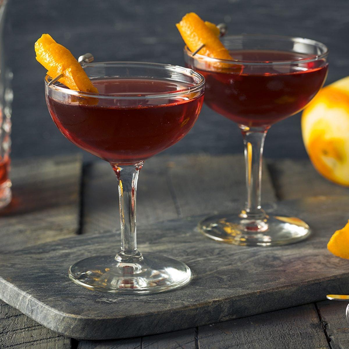 Homemade Red Boulevardier Cocktail with Orange Garnish