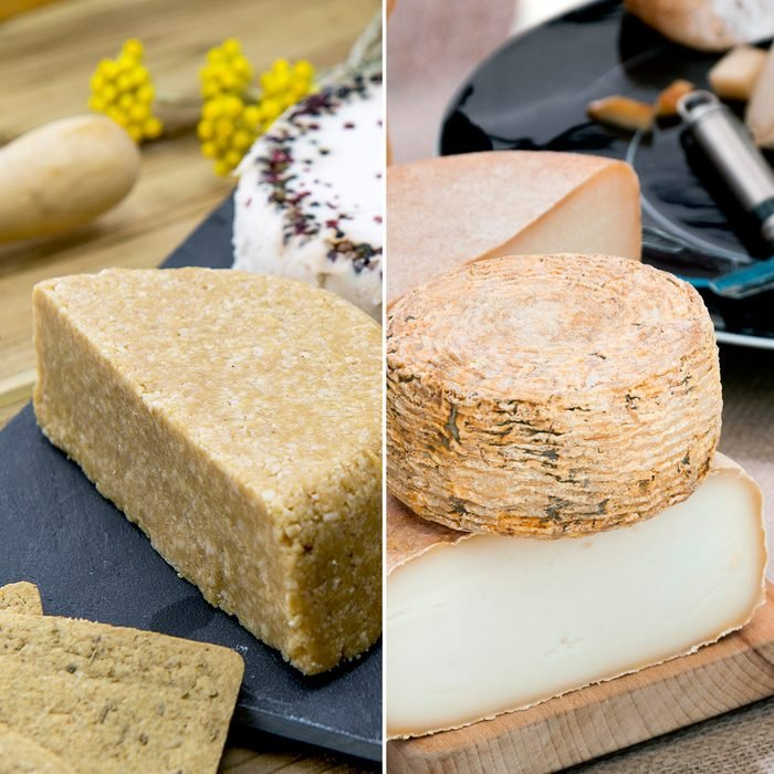 Cut round cheese wheels on a cutting board; Shutterstock ID 1082535398; Job (TFH, TOH, RD, BNB, CWM, CM): TOH Vegan variety of cheeses; no dairy products; Shutterstock ID 443055682; Job (TFH, TOH, RD, BNB, CWM, CM): TOH