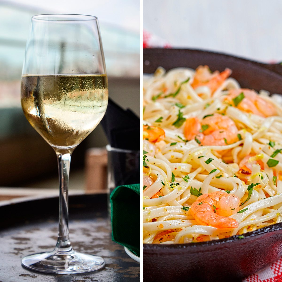 Pasta with Shrimp Scampi in a pan; Shutterstock ID 226410616; Job (TFH, TOH, RD, BNB, CWM, CM): TOH Glass with cold white wine on wooden table at restaurant interior closeup; Shutterstock ID 1474534157; Job (TFH, TOH, RD, BNB, CWM, CM): TOH