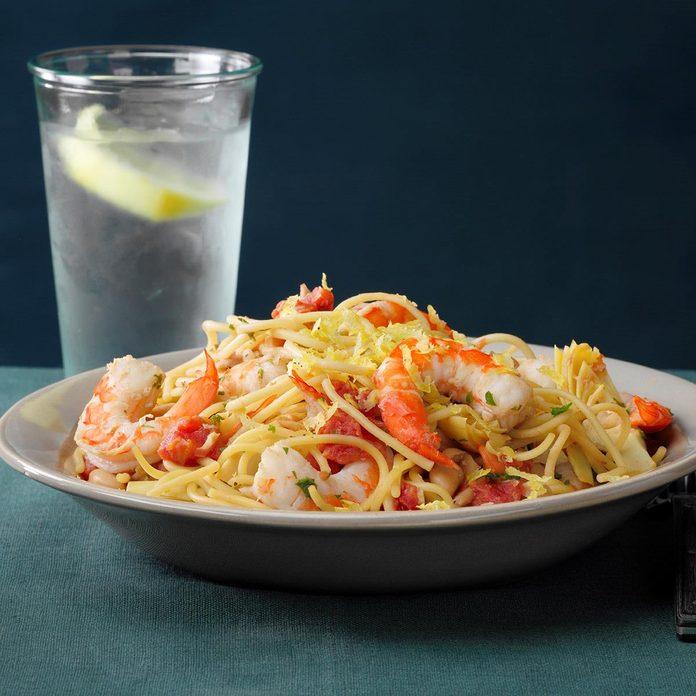 Shrimp and Spaghetti Skillet
