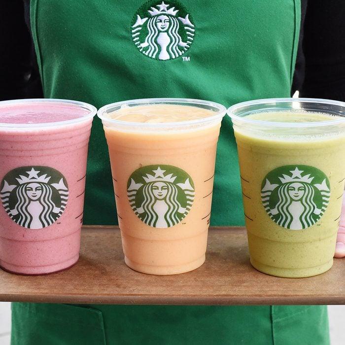 Starbucks smoothies on a platter