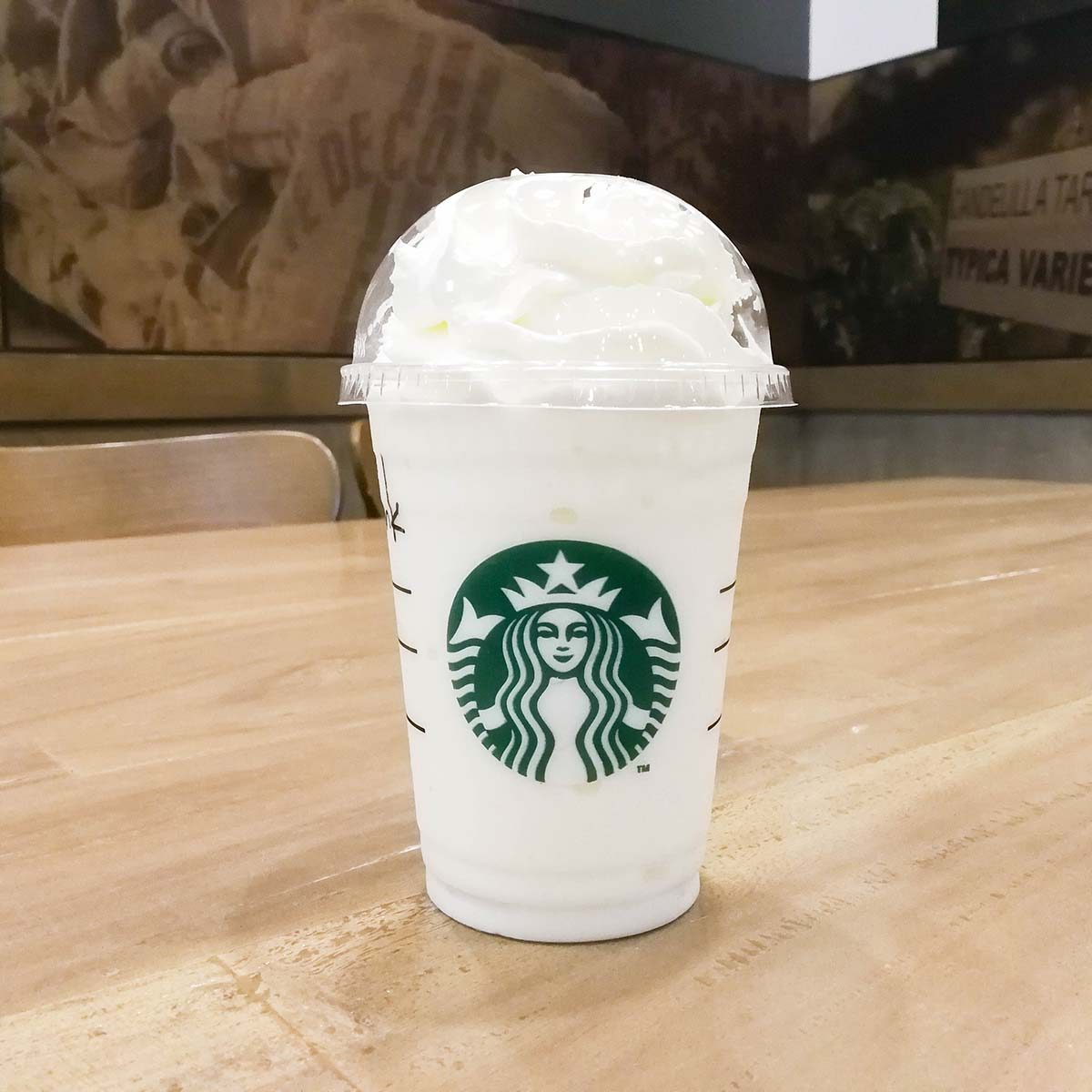 A cup of Starbucks coffee blended beverages, Vanilla bean frappuccino