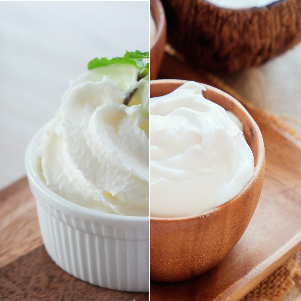 homemade organic coconut greek yogurt in wooden bowl; Shutterstock ID 791083180; Job (TFH, TOH, RD, BNB, CWM, CM): TOH Whipped cream with peppermint leafs in ceramic cup ; Shutterstock ID 633226634; Job (TFH, TOH, RD, BNB, CWM, CM): TOH