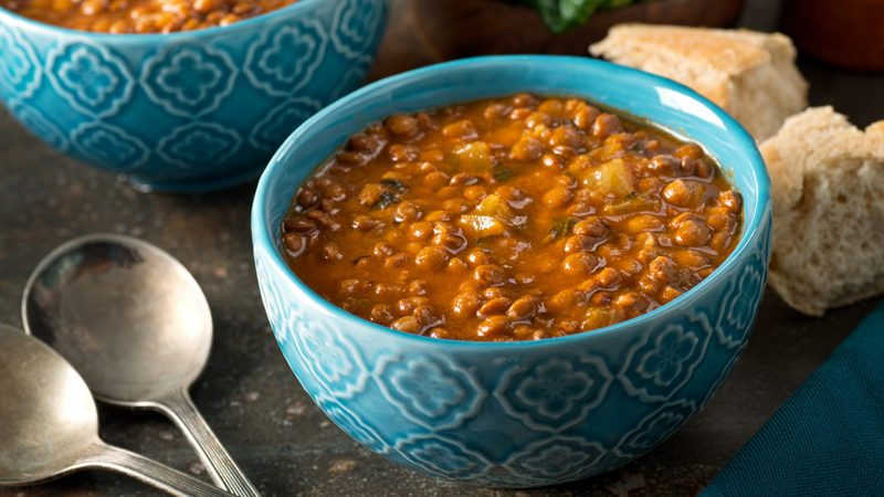 A bowl of delicious hearty homemade curried lentil soup.