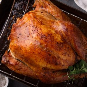 Cooked turkey for Thanksgiving or Christmas in a roasting pan ready for carving