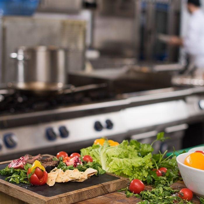 delicious assortment of farm fresh vegetables in restaurant kitchen