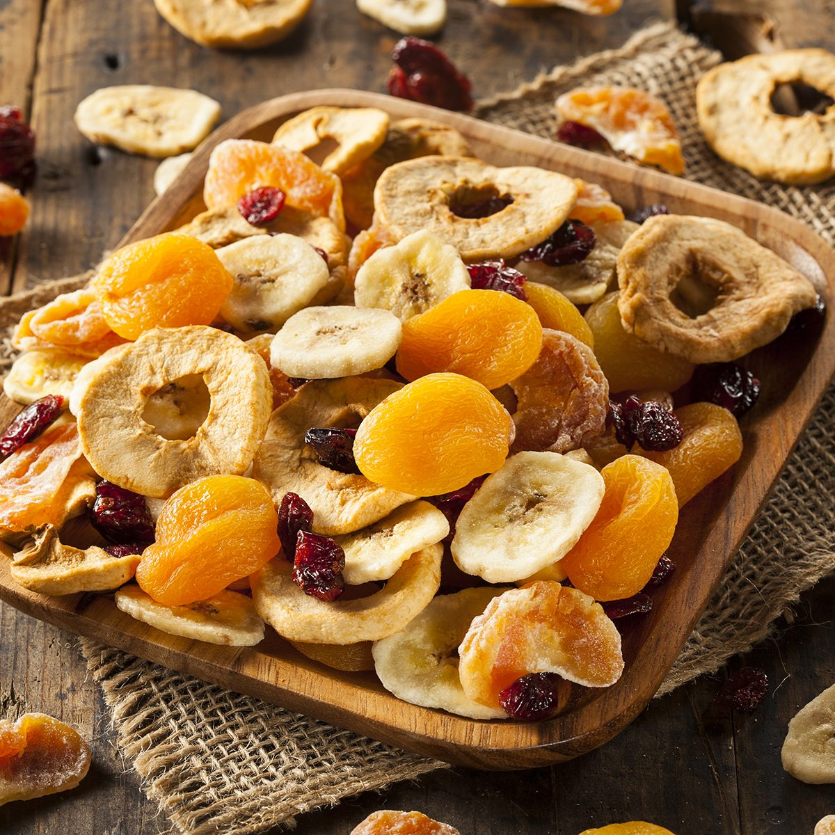 Organic Healthy Assorted Dried Fruit on a Plate