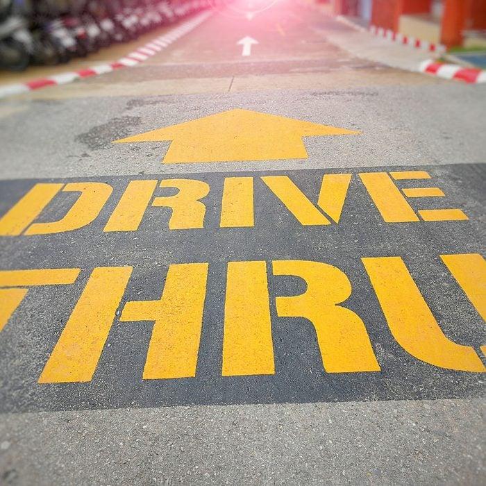 Drive thru lane on the day time