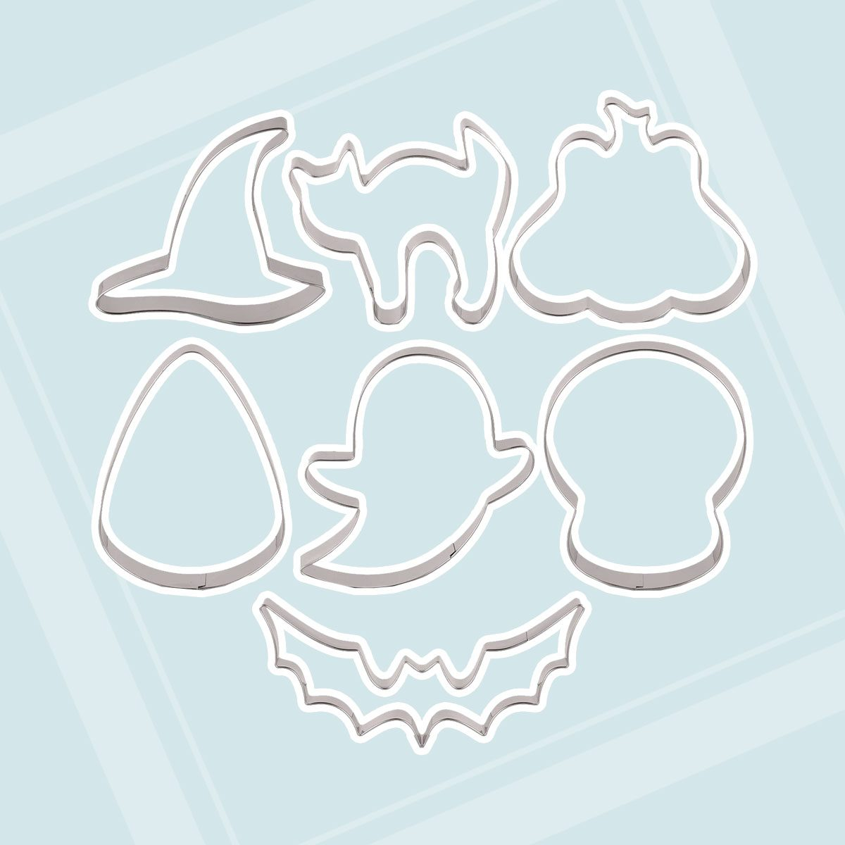 LILIAO Halloween Cookie Cutter Set - 7 Piece - Pumpkin, Ghost, Skull, Witch Hat, Candy Corn, Bat and Frightened Cat Biscuit Fondant Cutters - Stainless Steel