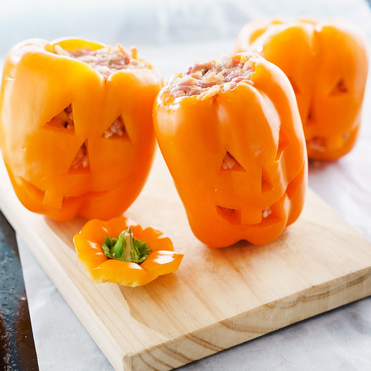 Halloween jack-o-lanterns filled with minced meat
