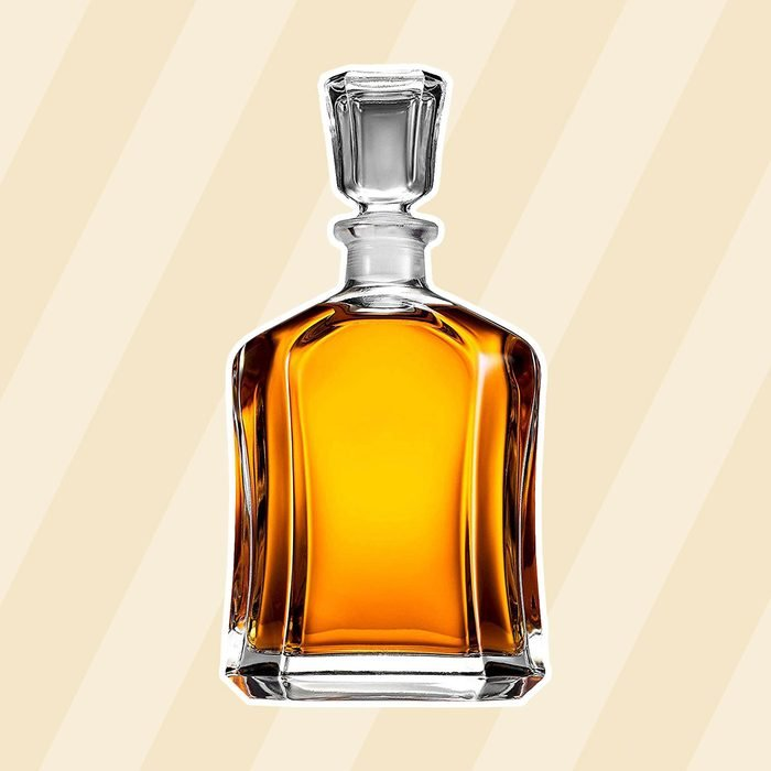 Paksh Capitol Glass Decanter with Airtight Geometric Stopper - Whiskey Decanter for Wine, Bourbon, Brandy, Liquor, Juice, Water, Mouthwash. Italien Lead-Free Glass   23.75 oz