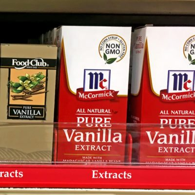 Vanilla Extract on a store shelf in grocery store.