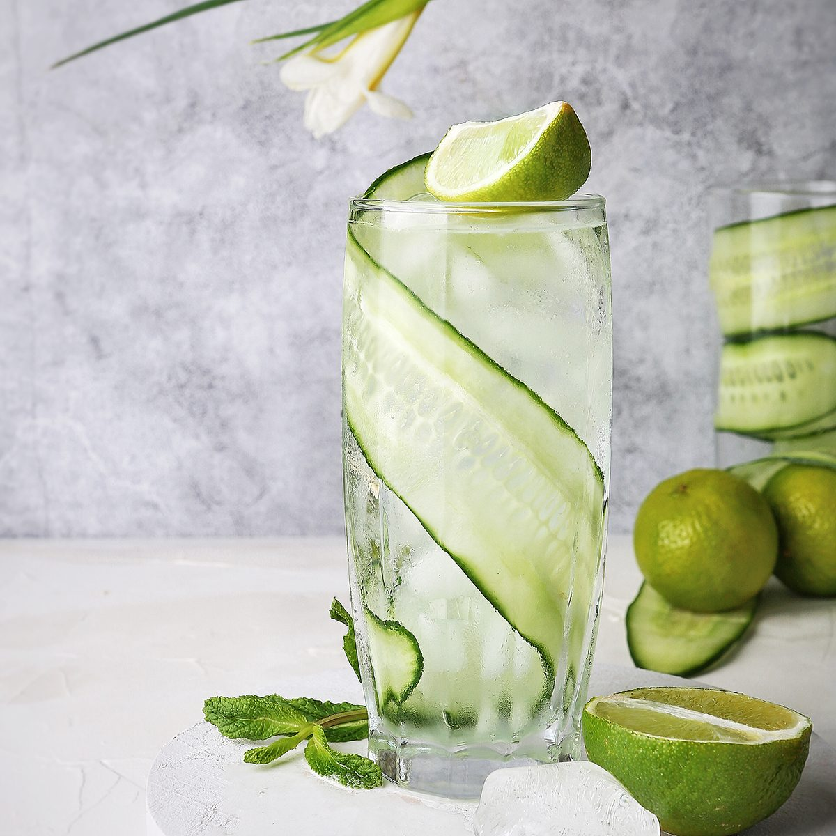 Cocktail with cucumber and lime fresh ice tonic summer alcohol green transparent on the table drink refreshing bar; Shutterstock ID 1437877766; Job (TFH, TOH, RD, BNB, CWM, CM): TOH