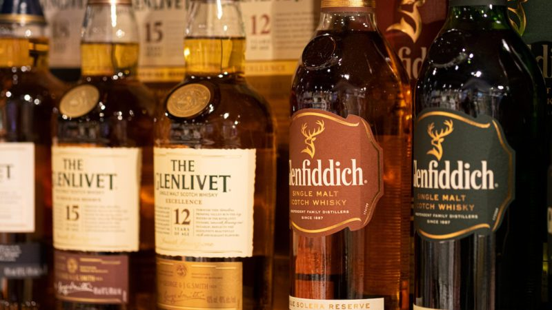 Bottles of Scotch Whisky on Shelf