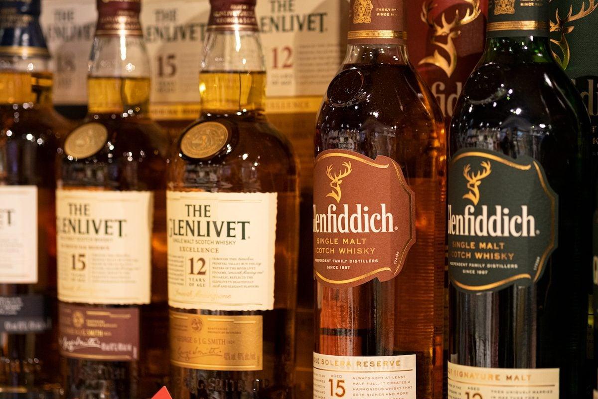 Bottles of Scotch Whisky on Shelf