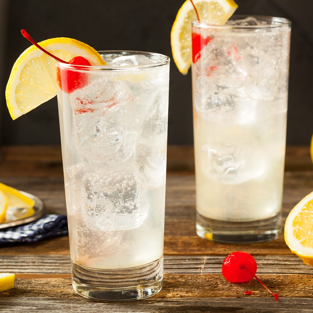 Refreshing Classic Tom Collins Cocktail with a Cherry and Lemon Slice; Shutterstock ID 431092117; Job (TFH, TOH, RD, BNB, CWM, CM): TOH