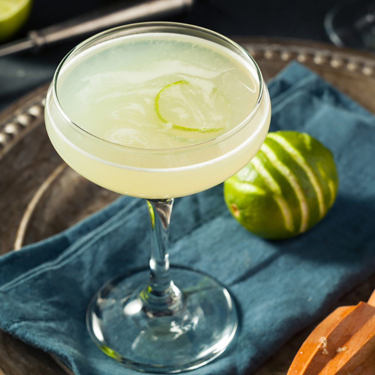 Alcoholic Lime and Gin Gimlet with a Garnish