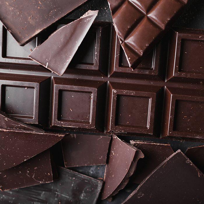 Broken slices of vegan chocolate bars