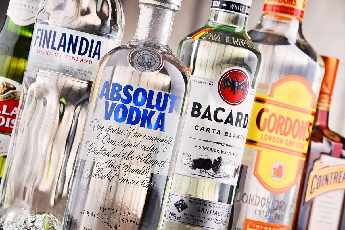 POZNAN, POLAND - MAY 17, 2017: Bottles of assorted global hard liquor brands; Shutterstock ID 739154995; Job (TFH, TOH, RD, BNB, CWM, CM): Taste of Home