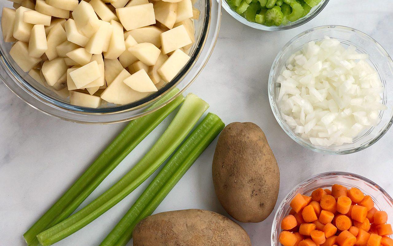 Vegetables needed for vegan potato soup