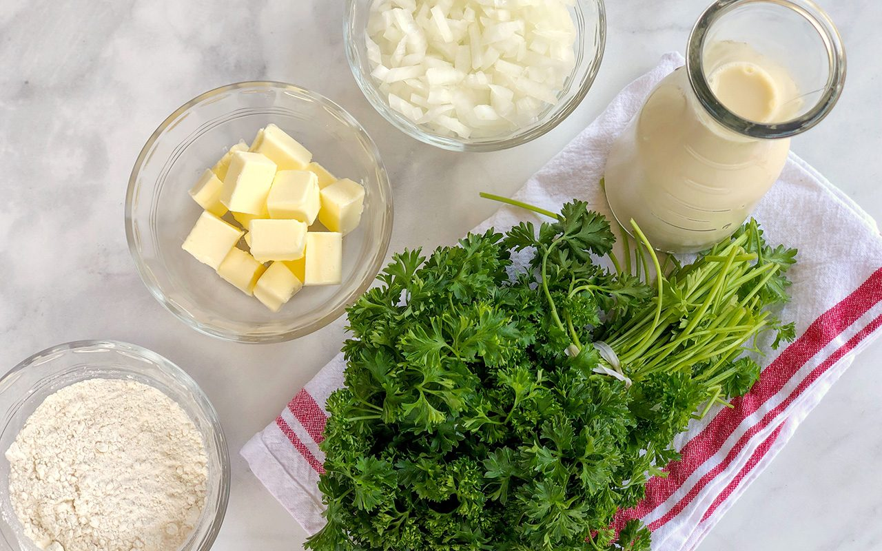 Ingredients for potato soup laid out