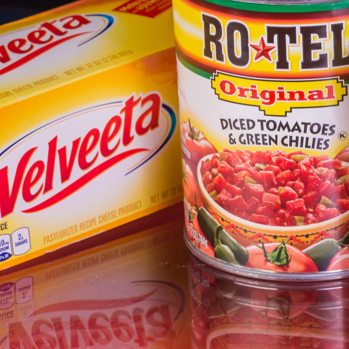 Velveeta Cheese and Ro Tel Diced Tomatoes with Green Chilies are ingredients for the popular Ro Tel Queso Dip. With Habanero Peppers is a spicy option