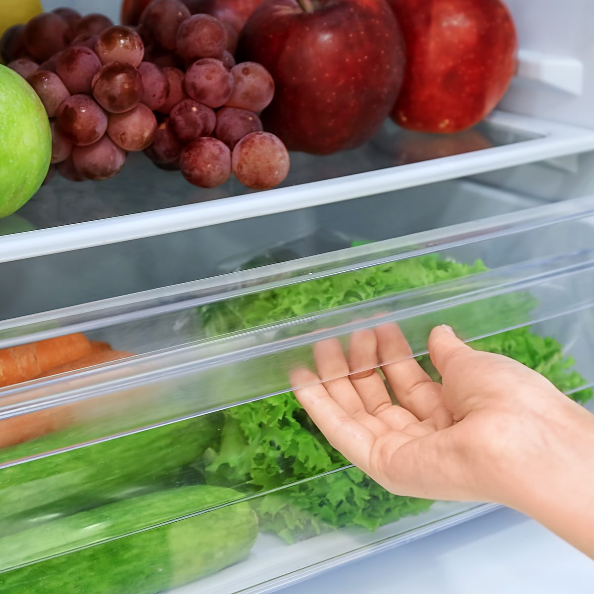 Woman opening drawer of refrigerator with vegetables, closeup