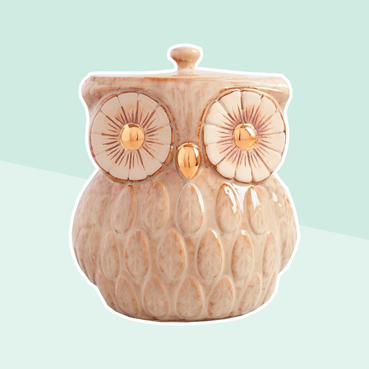 Metallic Owl Cookie Jar