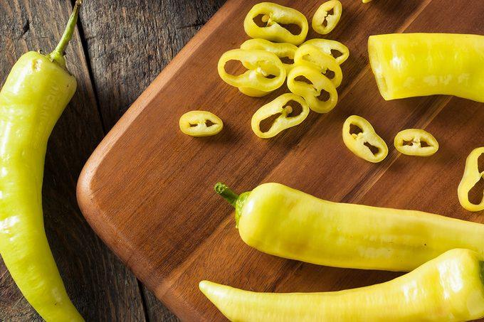 Raw Organic Yellow Banana Peppers Ready to Cut