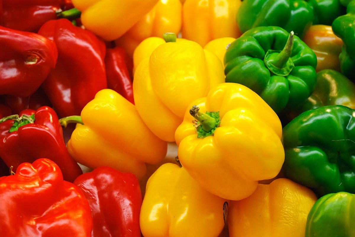Red, yellow and green Bell Peppers are seen stacked side by side in a farmers market display.