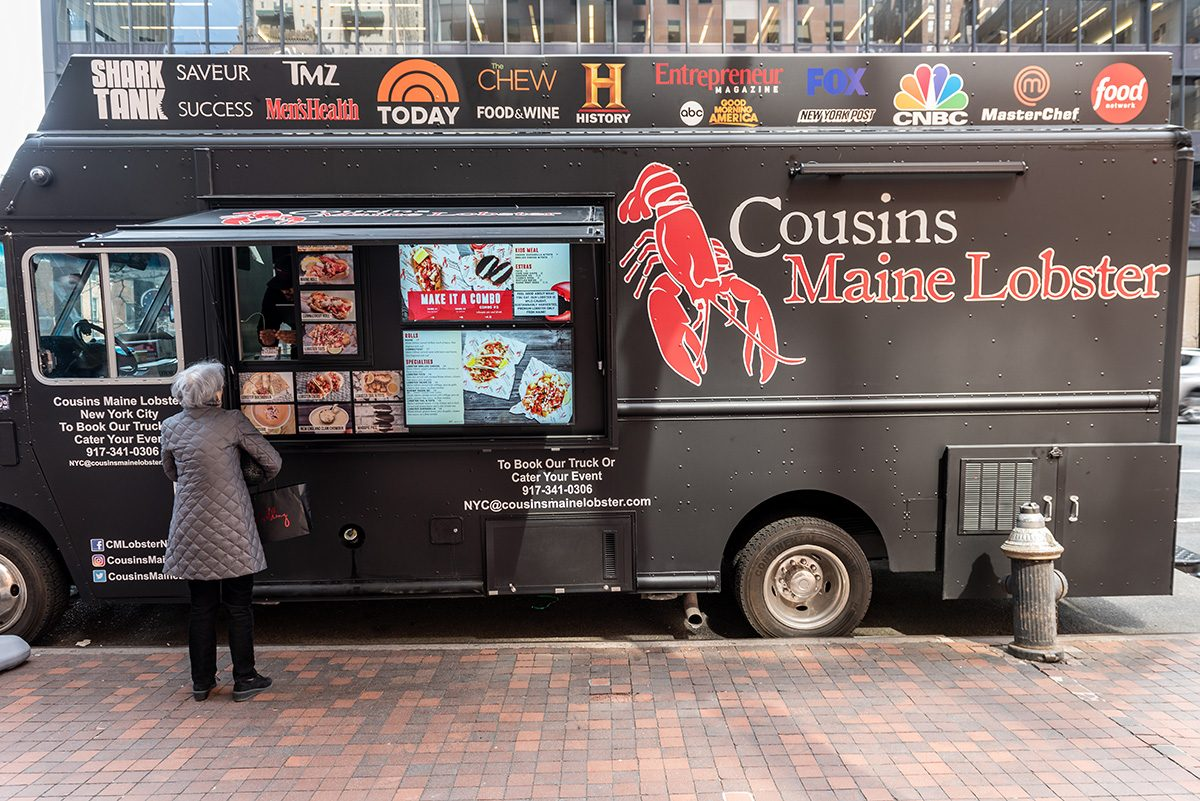 April 4, 2019- New York, NY/USA: A Cousin's Maine Lobster food truck, specializing in seafood, parked in Midtown Manhattan. The company was featured on ABC's Shark Tank television show.