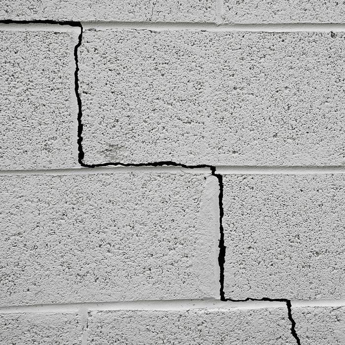 Crack in a cinder block building foundation