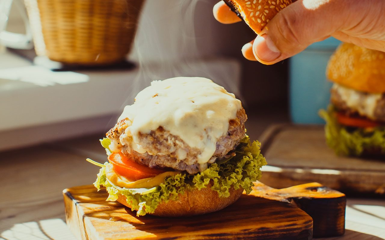 Fresh homemade burger on the kitchen in the morning