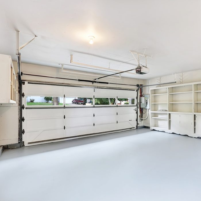 Empty garage interior in American house. Northwest, USA