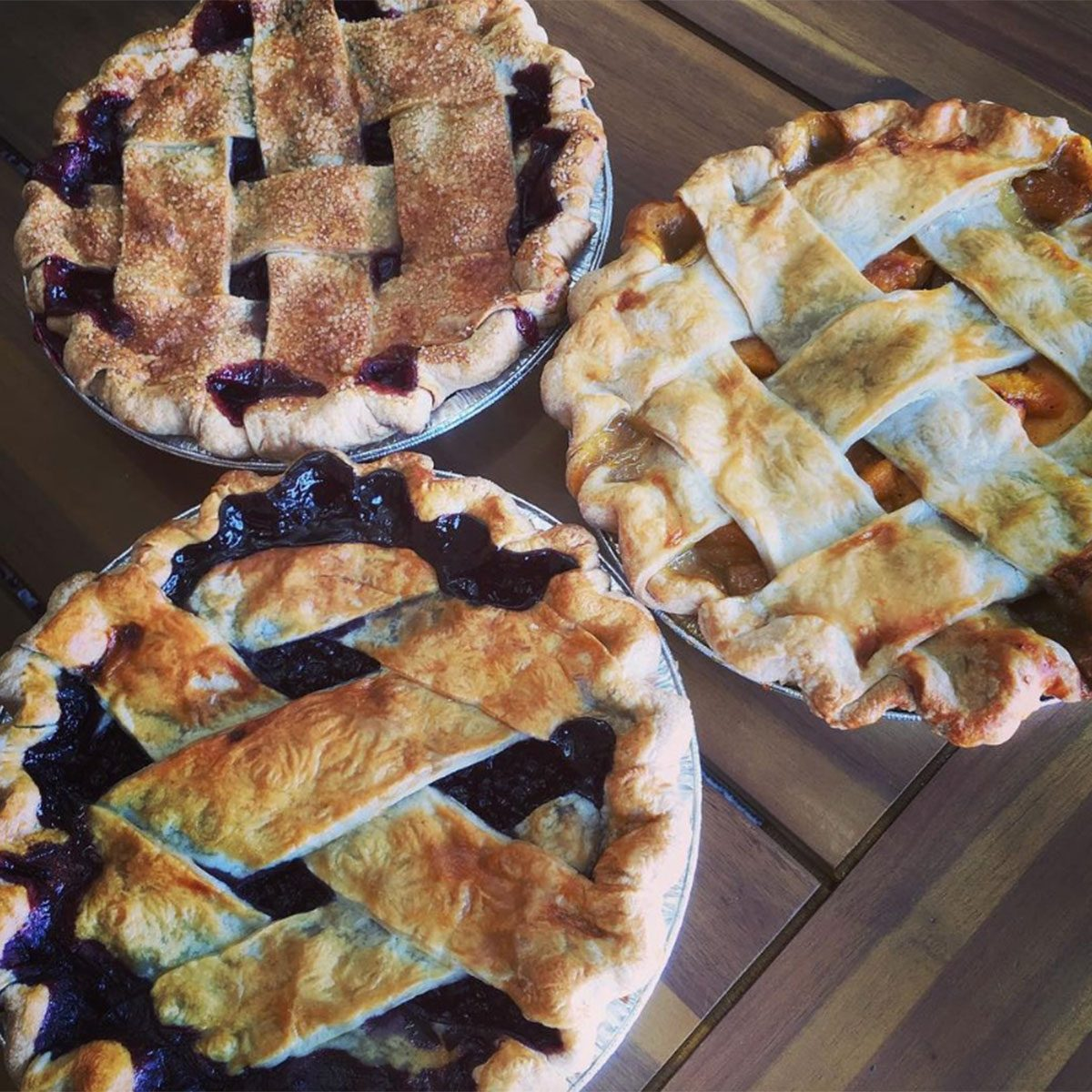 Tart Red Cherry, Peach, and Blueberry - all with lattice crus