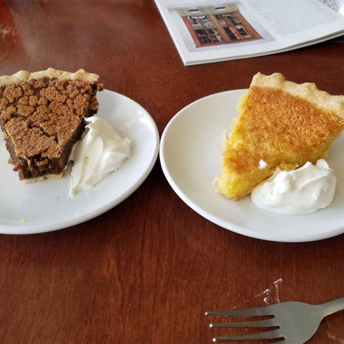 Lemon chess and molasses rasin pie slices
