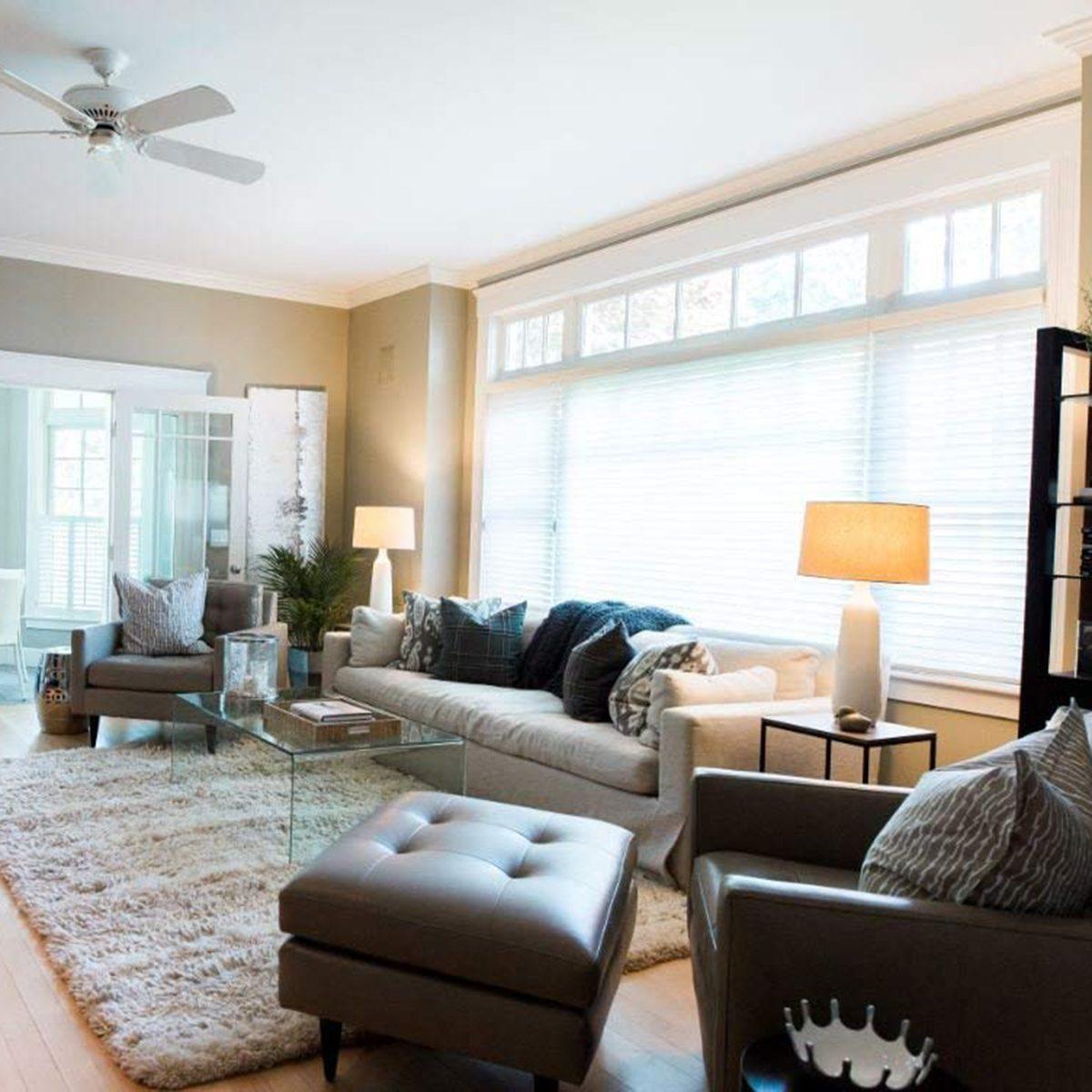 Lit living room