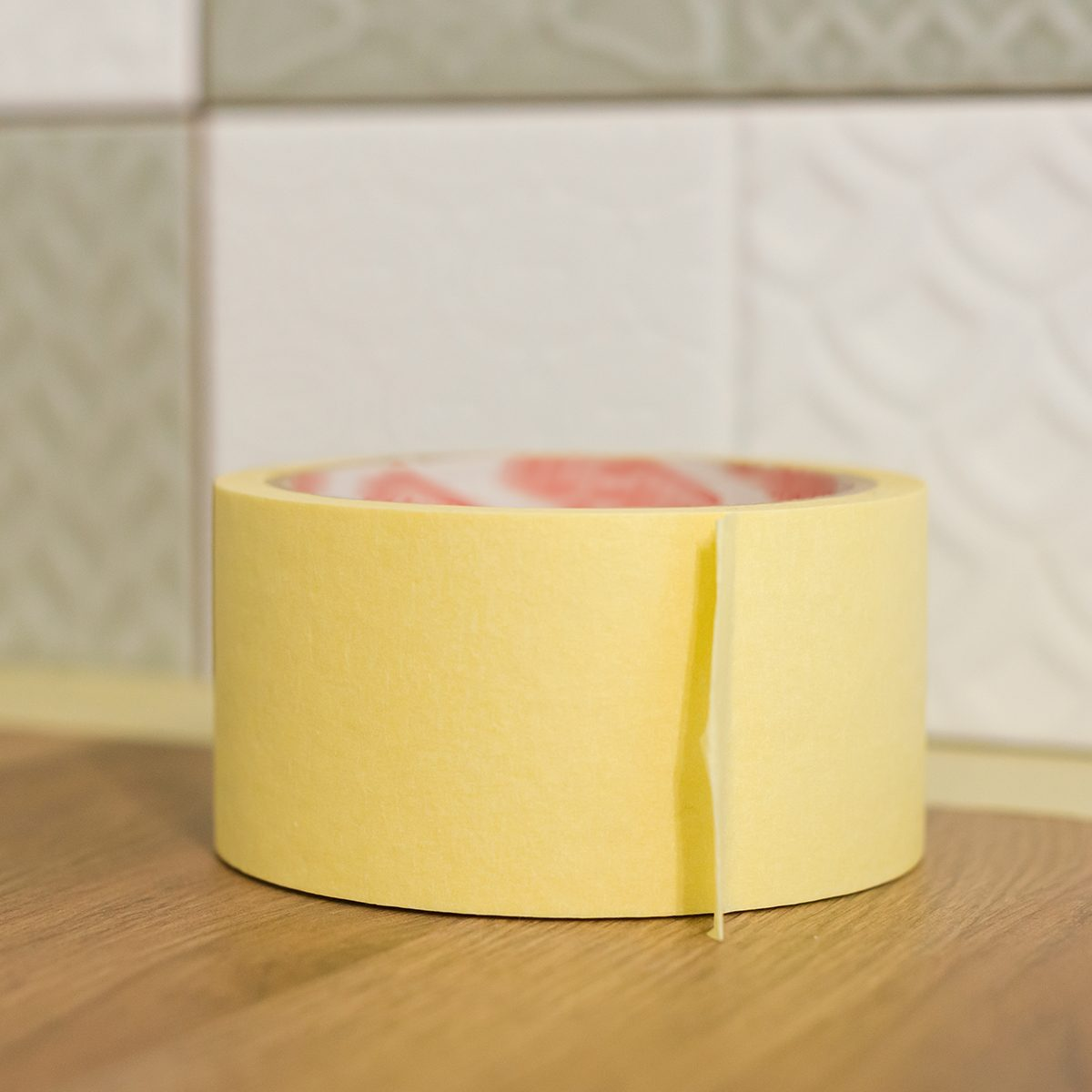 masking tape on kitchen counter